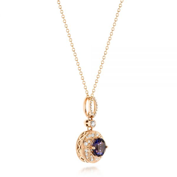 14k Rose Gold Vintage-inspired Diamond And Iolite Pendant - Flat View -