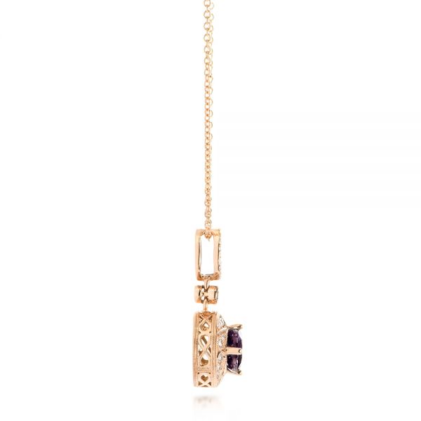 14k Rose Gold Vintage-inspired Diamond And Iolite Pendant - Side View -