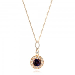 Vintage-inspired Rose Gold Diamond and Iolite Pendant