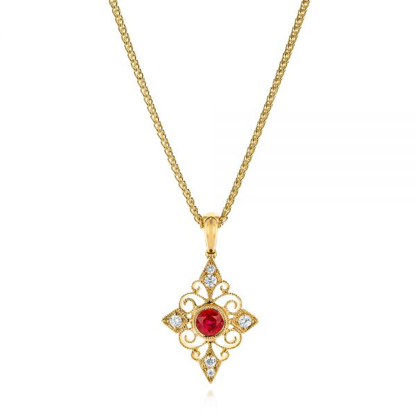 Vintage-inspired Ruby And Diamond Filigree Pendant - Three-Quarter View -  106007