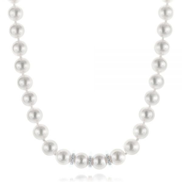 White Akoya Pearl and Diamond Necklace - Image