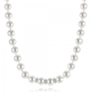 White Akoya Pearl and Diamond Necklace