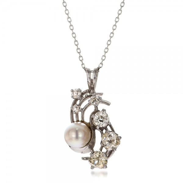 Diamond and Pearl Pendant - 3/4 View