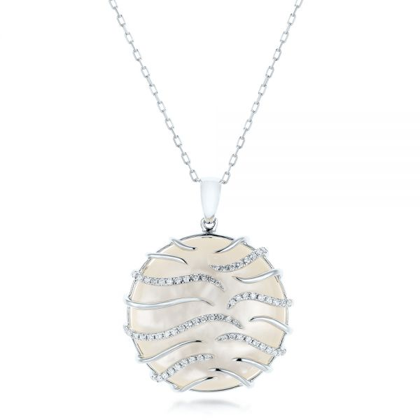 White Mother of Pearl and Diamonds Luna Pendant - Image