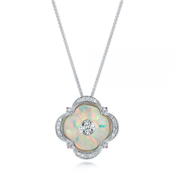 White Opal and Diamond Pendant