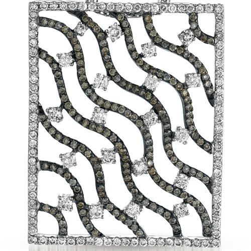 White and Brown Diamond Filigree Pendant - Vanna K - Laying View