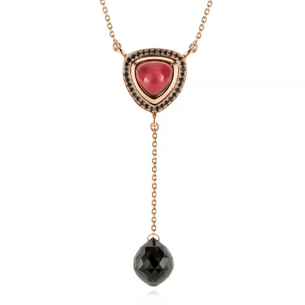 Y-Chain Garnet and Black Diamond Necklace - Image