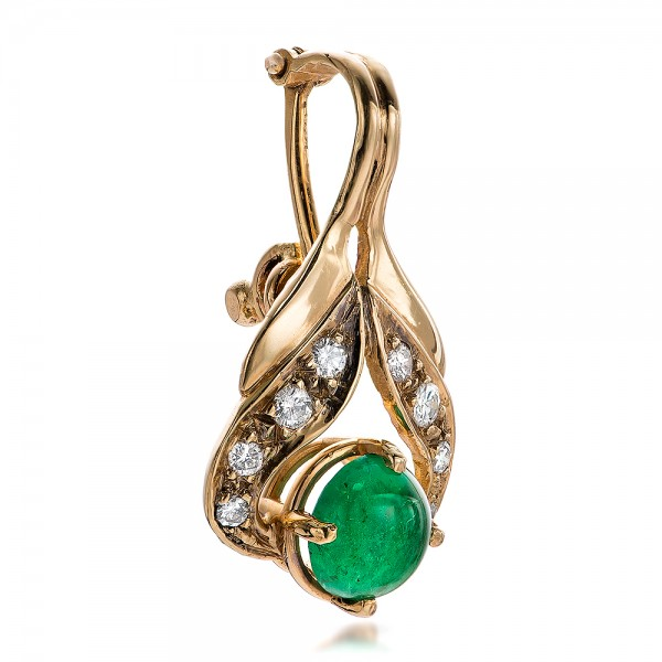 Emerald Cabochon and Diamond Pearl Enhancer - Laying View