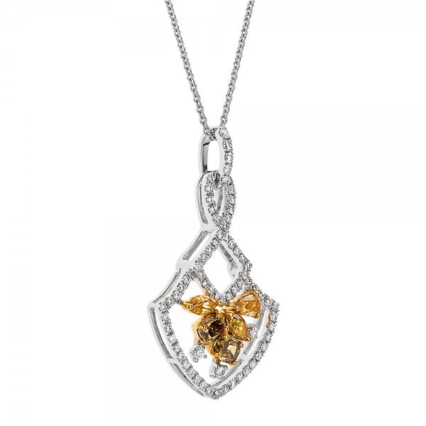 Yellow and White Diamond Pendant - Laying View