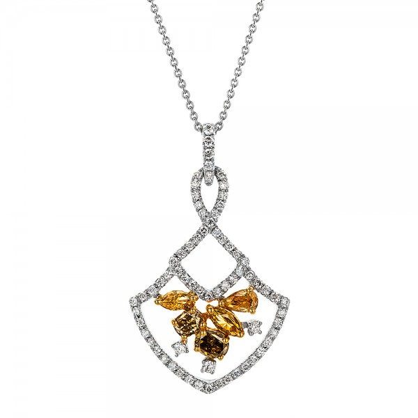 Yellow and White Diamond Pendant