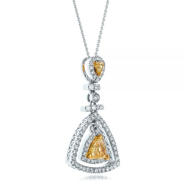 18k White Gold And 18K Gold Yellow And White Diamond Halo Pendant - Flat View -