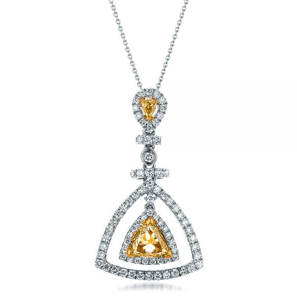 18k White Gold And 18K Gold Yellow And White Diamond Halo Pendant - Three-Quarter View -