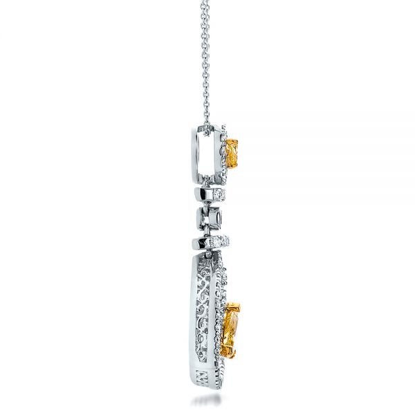 18k White Gold And 18K Gold Yellow And White Diamond Halo Pendant - Side View -