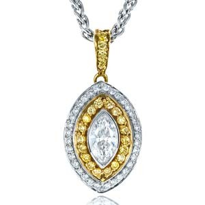 Yellow and White Diamond Marquise Pendant