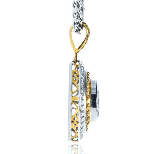 Yellow and White Diamond Marquise Pendant - Side View