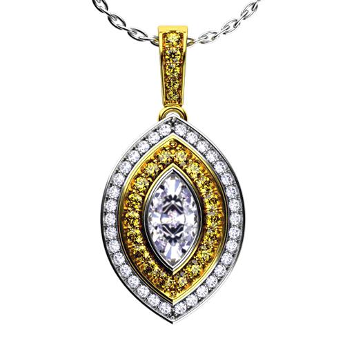 Yellow and White Diamond Two-Tone Gold Pendant - 3/4 View
