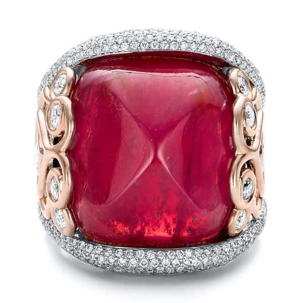 Custom Spinel And Pave Diamond Anniversary Ring 102081
