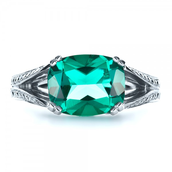Custom Emerald and Diamond Ring - Top View
