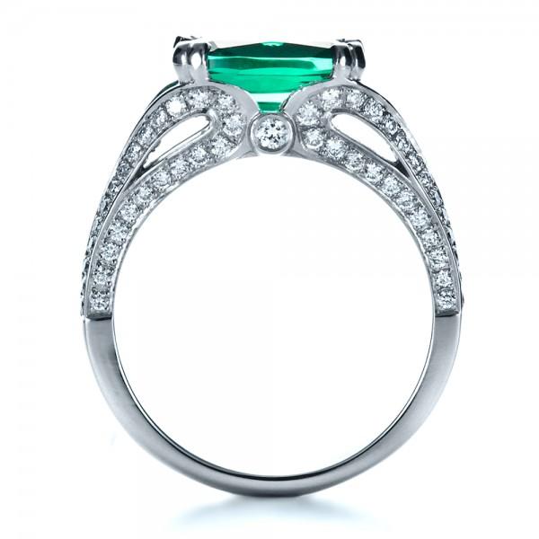 Custom Emerald and Diamond Ring - Finger Through View