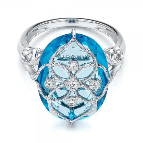 Vintage Filigree Blue Topaz Fashion Ring - Vanna K - Laying View