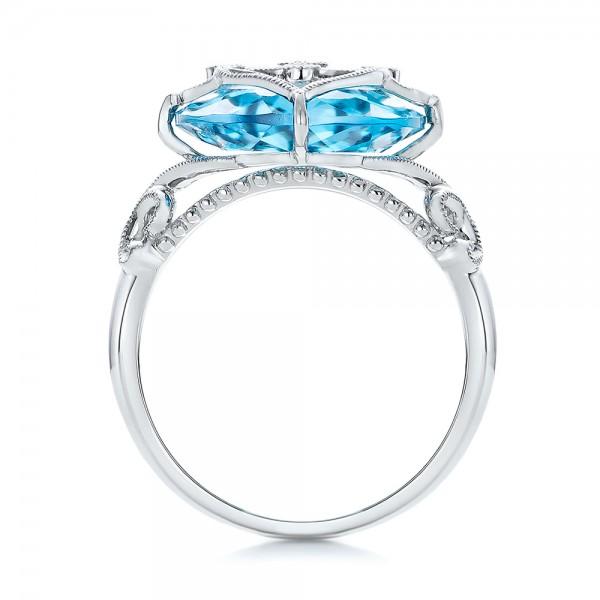 Vintage Filigree Blue Topaz Fashion Ring - Vanna K - Finger Through View