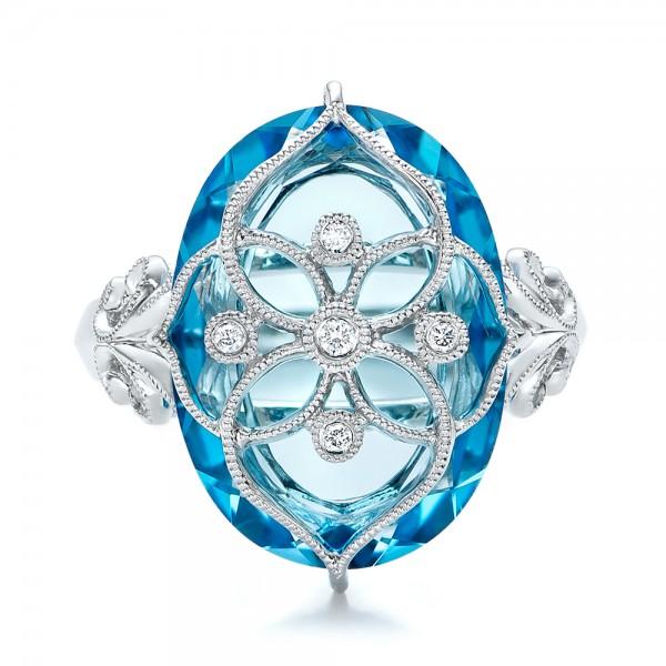 Vintage Filigree Blue Topaz Fashion Ring - Vanna K - Top View