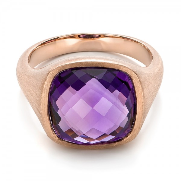 Amethyst and Rose Gold Ring - Flat View -  101173 - Thumbnail