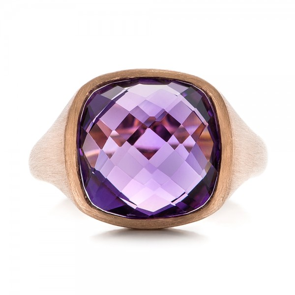 Amethyst and Rose Gold Ring - Top View -  101173 - Thumbnail