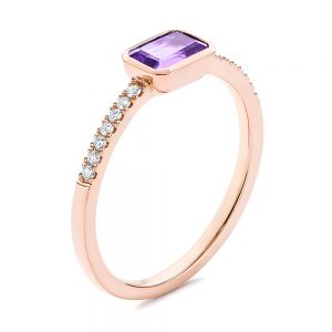 Amethyst and Diamond Fashion Ring - Image