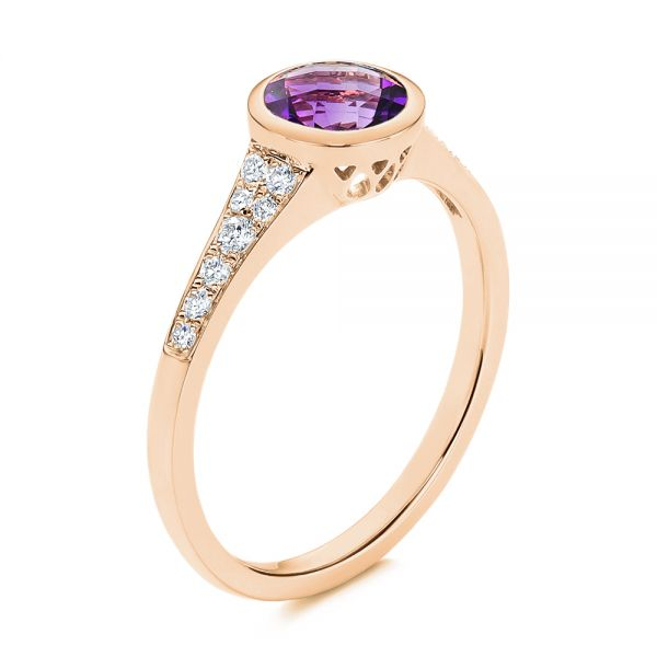 18k Rose Gold 18k Rose Gold Amethyst And Diamond Fashion Ring - Three-Quarter View -  106029