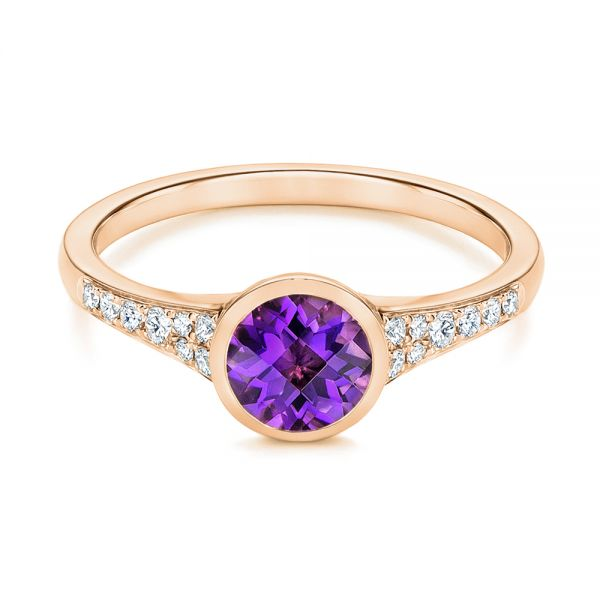 18k Rose Gold 18k Rose Gold Amethyst And Diamond Fashion Ring - Flat View -  106029