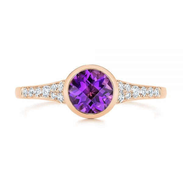 18k Rose Gold 18k Rose Gold Amethyst And Diamond Fashion Ring - Top View -  106029