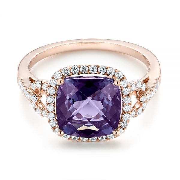 Amethyst and Diamond Halo Fashion Ring -  103758