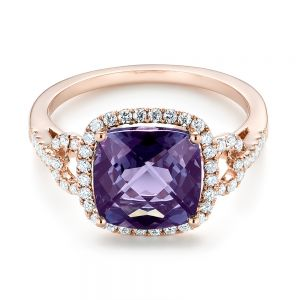 Amethyst and Diamond Halo Fashion Ring