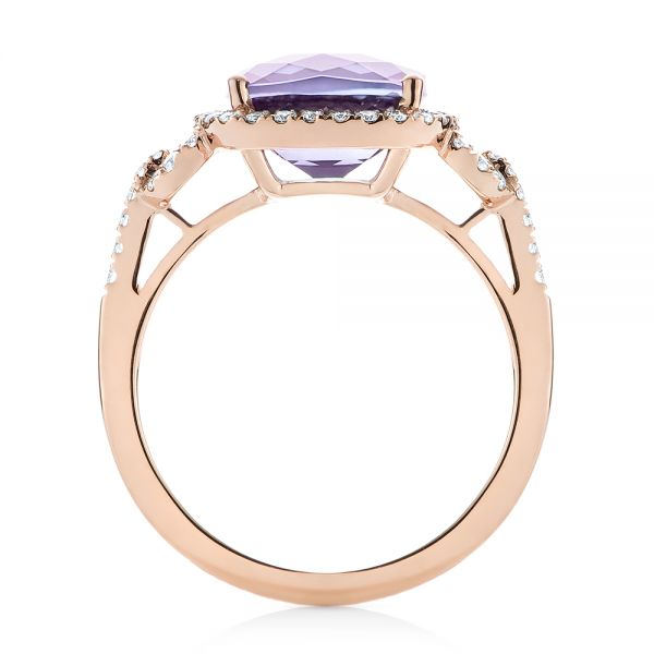 Amethyst and Diamond Halo Fashion Ring - Front View -  103758 - Thumbnail