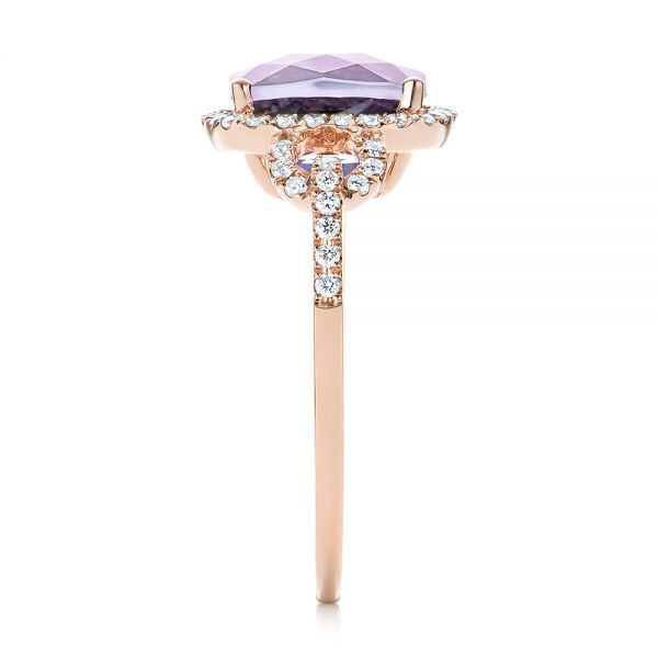 Amethyst and Diamond Halo Fashion Ring - Side View -  103758 - Thumbnail