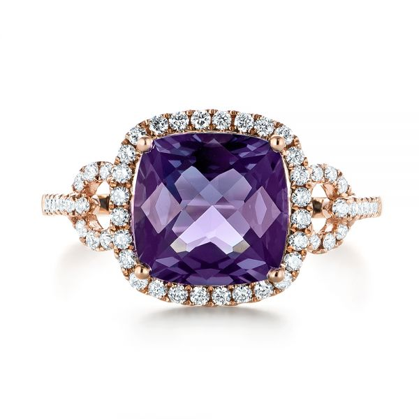 Amethyst and Diamond Halo Fashion Ring - Top View -  103758 - Thumbnail