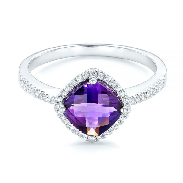 Amethyst and Diamond Halo Ring - Flat View -  102648 - Thumbnail