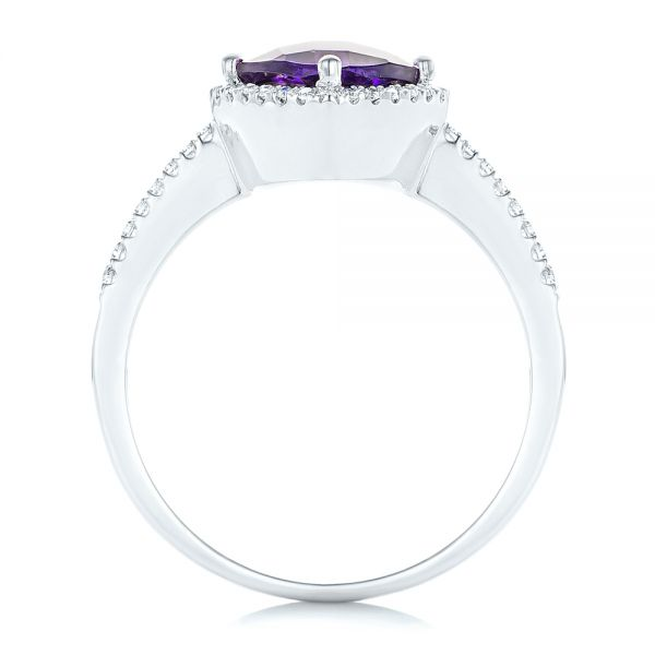 Amethyst and Diamond Halo Ring - Front View -  102648 - Thumbnail