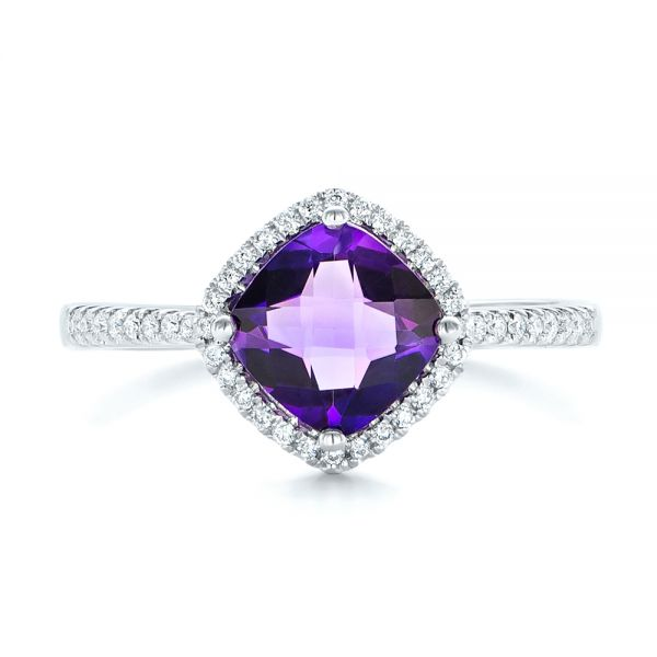 Amethyst and Diamond Halo Ring - Top View -  102648 - Thumbnail