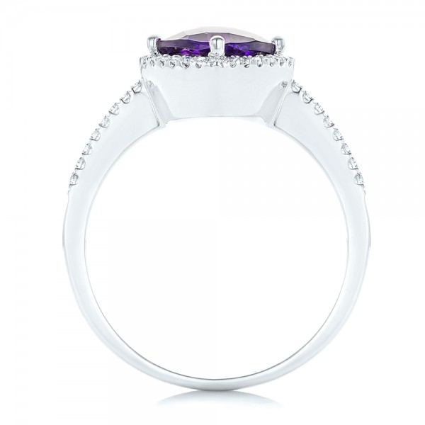 Amethyst and Diamond Halo Ring - Finger Through View