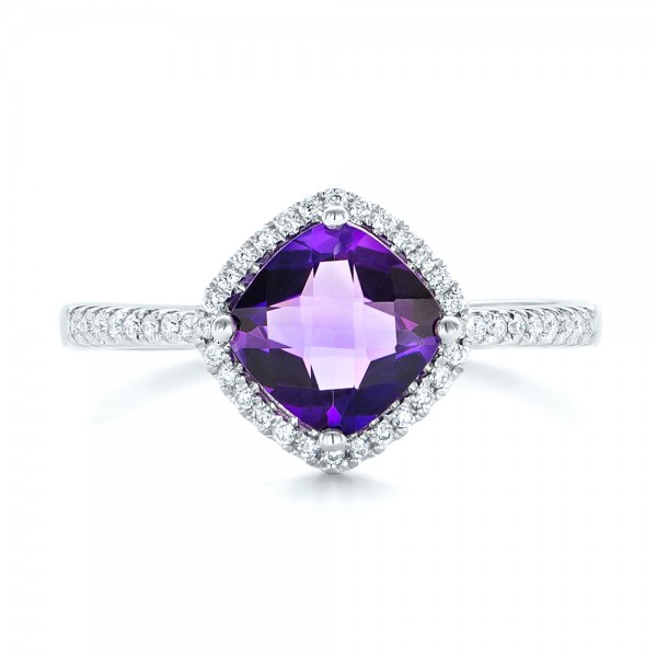 Amethyst and Diamond Halo Ring - Top View