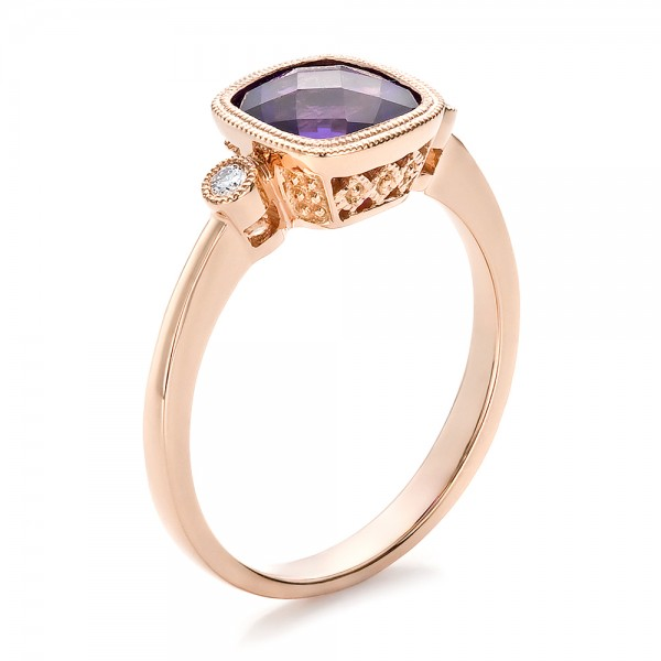 Amethyst and Diamond Rose Gold Ring 100453