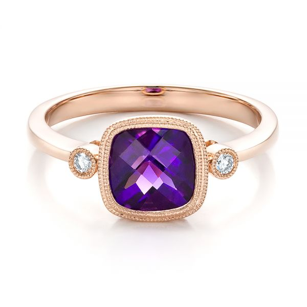 Amethyst And Diamond Ring - Flat View -  100453