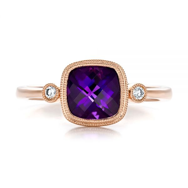 Amethyst And Diamond Ring - Top View -  100453
