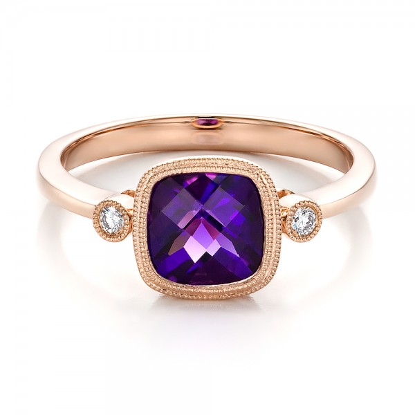 Amethyst and Diamond Rose Gold Ring - Laying View
