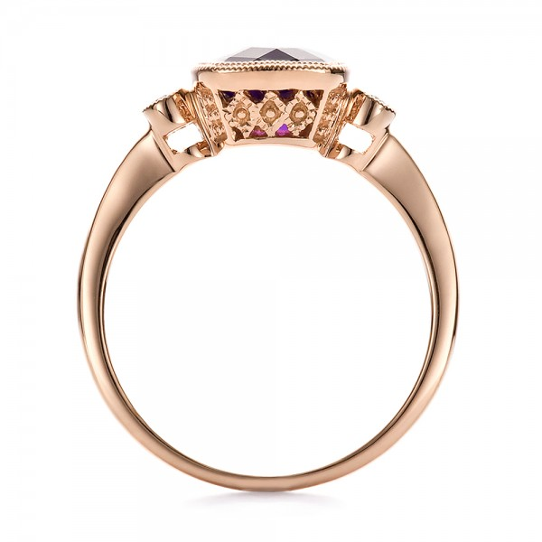 Amethyst and Diamond Rose Gold Ring - Finger Through View