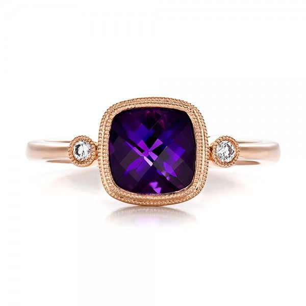 Amethyst and Diamond Rose Gold Ring - Top View