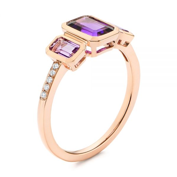 Amethyst and Diamond Three-stone Fashion Ring - Image