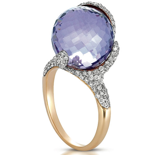 Amethyst and Pave Diamond Ring - Vanna K